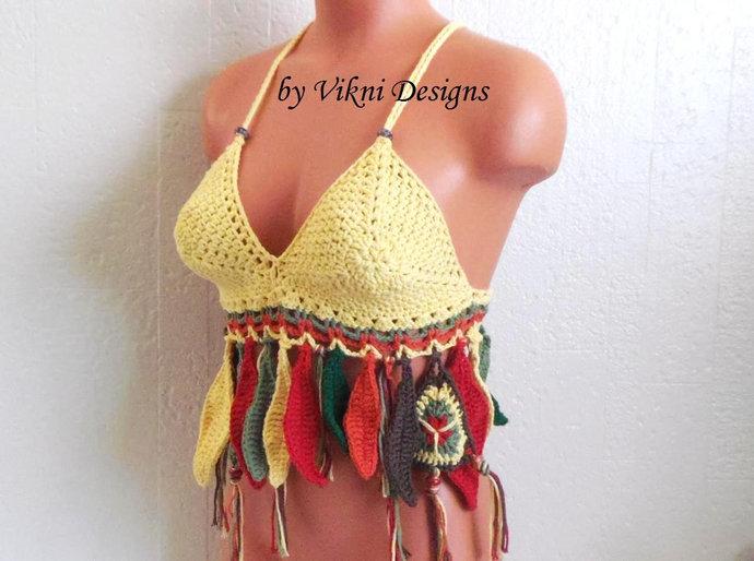 EARTH TONE Gypsy Crochet Top, Fringe Flower Leaf Crochet Halter Top by Vikni