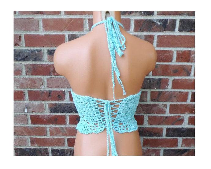 Aqua Crochet Top, High Neck Top, Festival Halter Top by Vikni Designs
