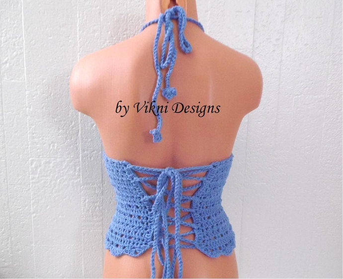 Crochet Halter Tank Top, Soft Blue Crochet Tops, Festival Top, Coverage Gypsy