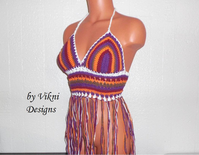 Festival Vintage 70s Color Fringe Halter Top, Multicolor Crochet Fringe Top by
