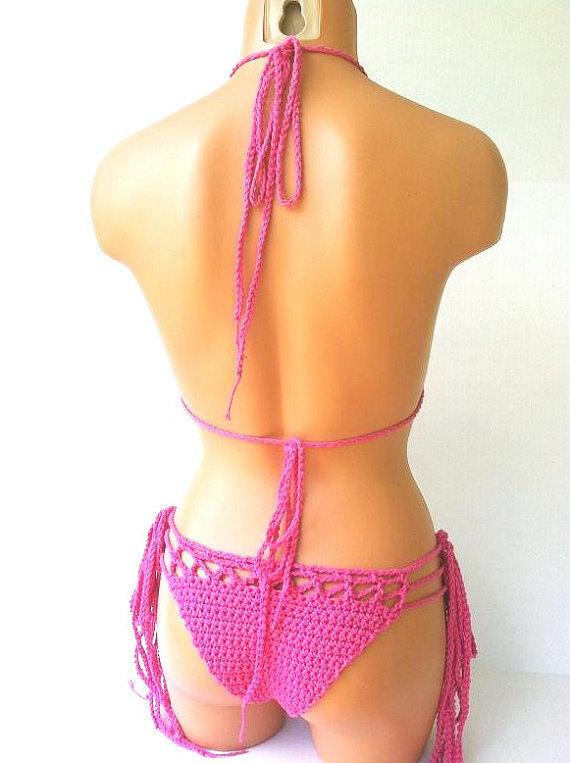 Hot Pink Cheeky Crochet Bikini, Brazilian Cheeky Bikini by Vikni Designs