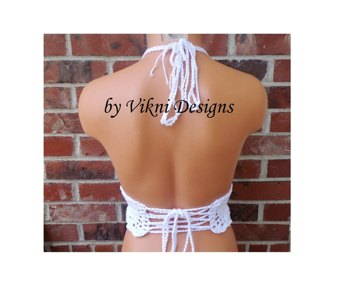 Crochet Crop Top, Boho Hippie White Crochet Top, Halter Top by Vikni Designs