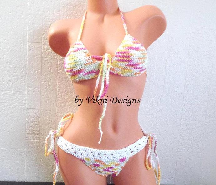 Rainbow Exotic Cheeky Crochet Bikini, Brazilian Bikini by Vikni Designs