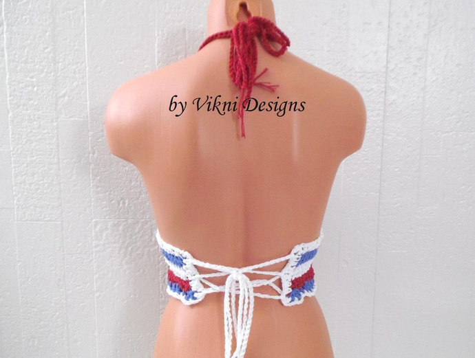 Crochet Boho Hippie American Flag Halter Crop Top by Vikni Designs