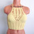 Crochet High Neck Top, Gypsy Bohemian Yellow Crop Top by Vikni Designs