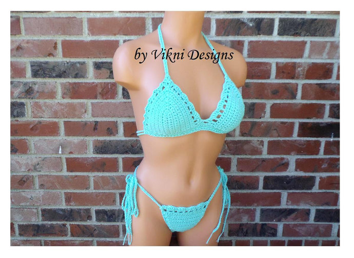 Breakfast in bed bikini, Exotic Crochet THONG CHEEK Bikini by Vikni Designs