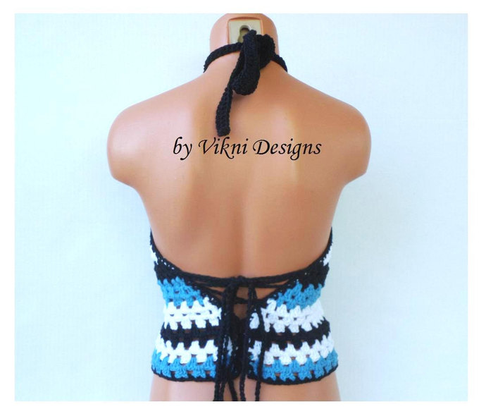 Crochet Halter Top, Lace Up Back Crochet Vintage 70's Top by Vikni