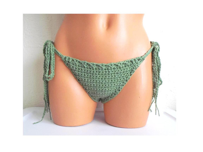 Double Tie Simply Cheeky Bikini Bottom, Crochet Bikini Bottom by Vikni