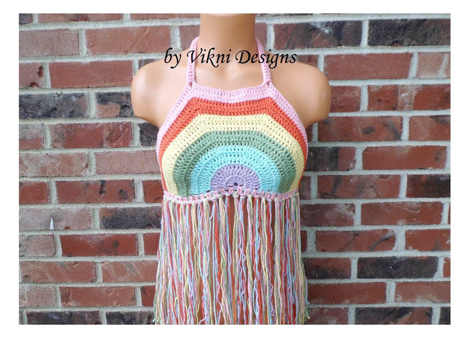 Crochet Fringe Rainbow Top, Rainbow Crochet Halter Top by Vikni Designs