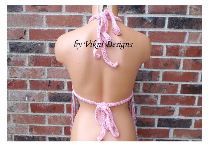 Crochet Fringe Rainbow Top, Rainbow Crochet Halter Top by Vikni Designs