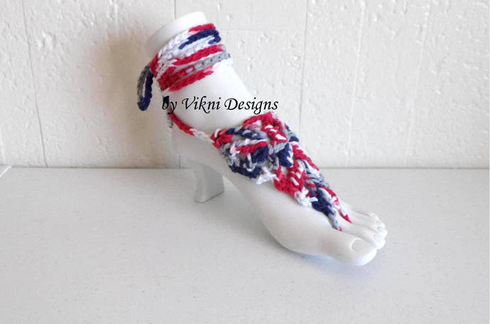 Crochet Barefoot Sandals, Red White Blue Foot Thongs, Mix and Matching Bikini