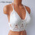 Crochet Crop Top, Hippie Off White Crochet Top by Vikni Designs