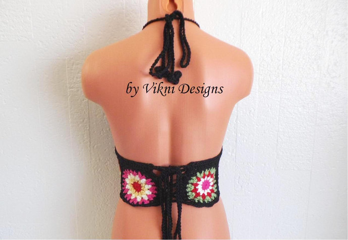 Crochet Festival Top, Flower Crochet Halter Crop Top by Vikni Designs