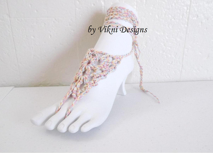 Crochet Barefoot Sandals, Mix and Matching Bikini Swimsuit, Festival Pastel