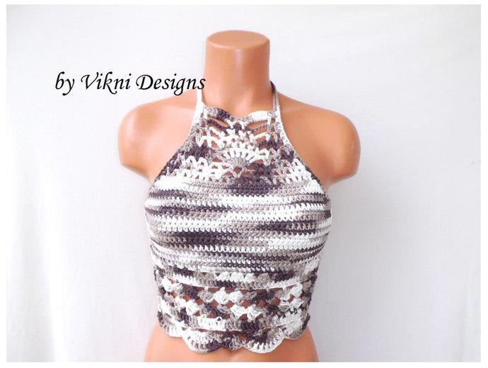 Vikni Crochet Top, High Neck Top, High Neck Halter Top by Vikni Designs