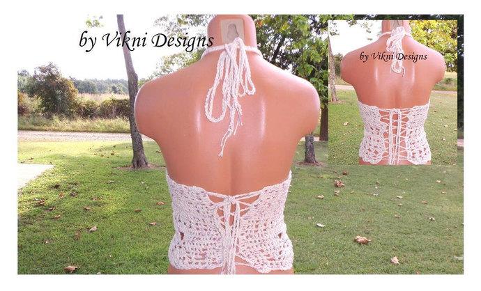 High Neck Halter Top, Boho Gypsy Crochet Top, Bohemian Crochet High Neck Top by