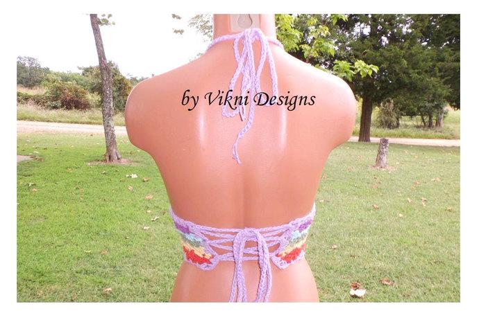 Crochet Rainbow Top, Pastel Rainbow Hippie Gypsy Bohemian Crop Top by Vikni