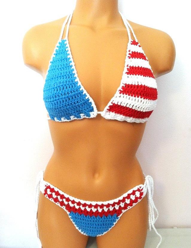 Vikni Crochet American Flag Bikini, Red White Blue Cheeky Bikini