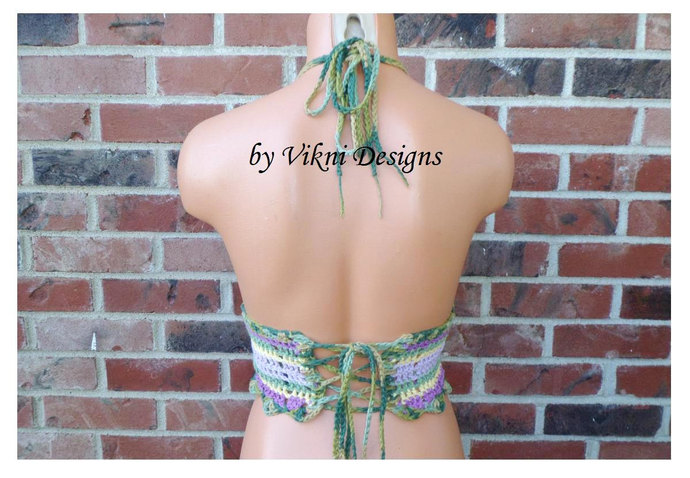 Crochet Top, Bohemian Hippie Gypsy Crop Top, Lace Halter Top by Vikni Designs