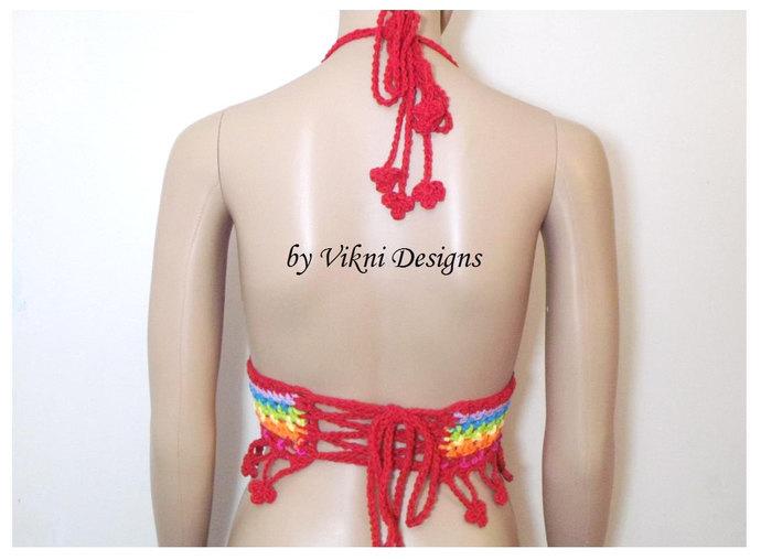 Festival Rainbow Crop Top, Gypsy Hippie Crochet Flower Top by Vikni Designs