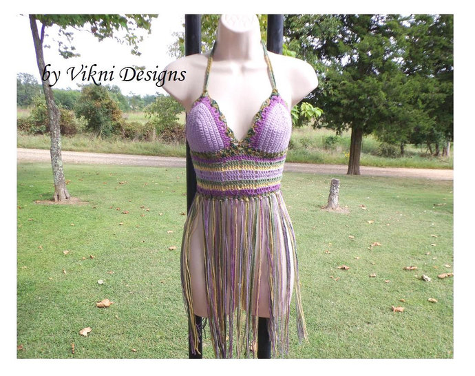 Festival Fringe Top, Gypsy Long Fringe Lavender Crochet Halter Top by Vikni