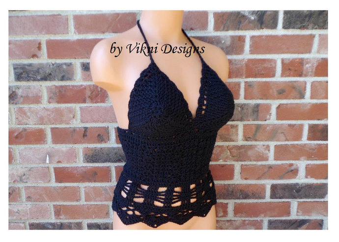 Crochet Halter Tank Top, Festival Boho Halter Top by Vikni Designs