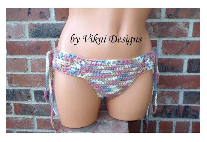ROSY Cheeky Crochet Brazilian Bikini Bottom by Vikni Designs