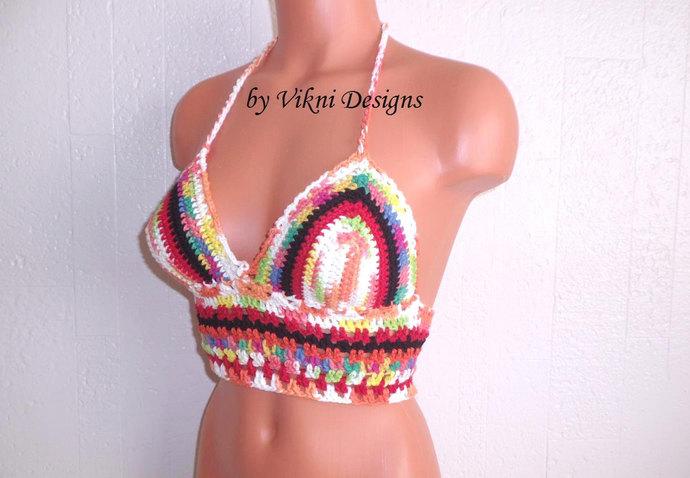 Festival Multicolor Crochet Crop Top, Hippie Gypsy Mesh Halter Top, Bohemian Top