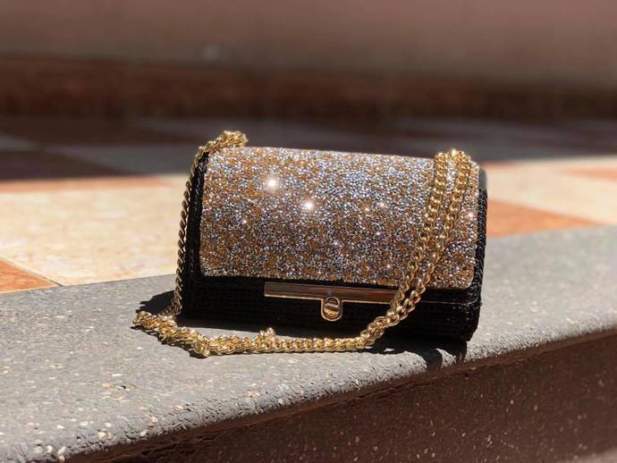 Beautiful bag with crystal flap
