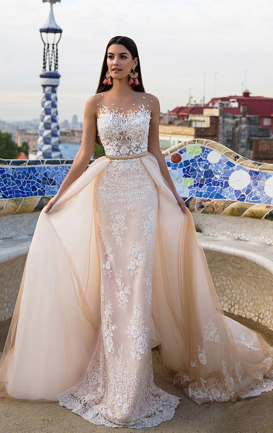 Long Champagne Wedding Dresses With Applique By Destinydress On Zibbet