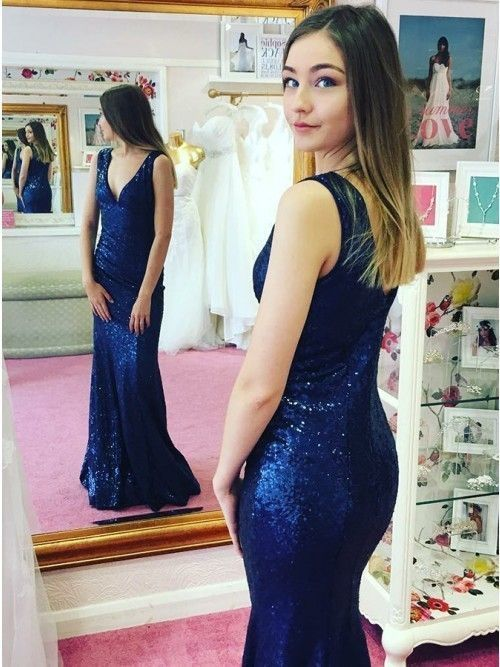 V Neck Long Royal Blue Sequin Prom Dresses By Dresses On Zibbet