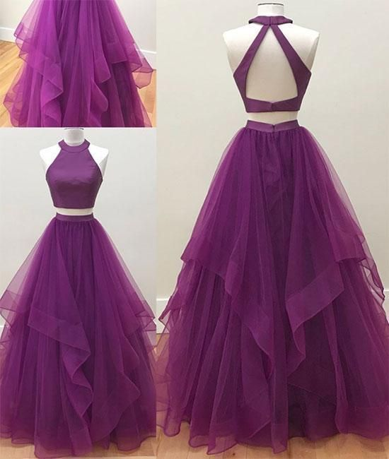 Two Piece Purple Prom Dress,Open Back Tulle Evening Dress by prom dresses