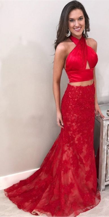 Two Piece Halter Backless Sweep Train Red Prom Dress with Beading Ball Gowns