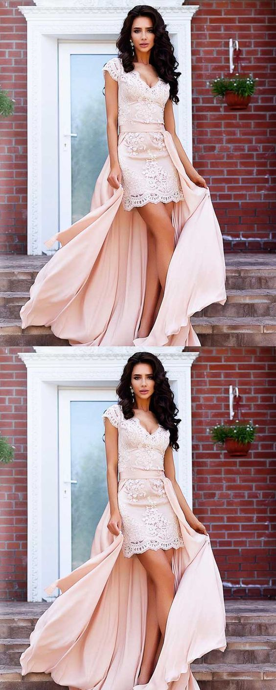 Stunning A-Line Cap Sleeves High Low Short Lace Homecoming Dress with Detachable