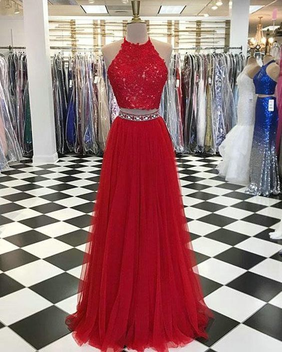 Sexy A Line Two Piece Prom Dress, Long Prom Dresses, Sleeveless Appliques