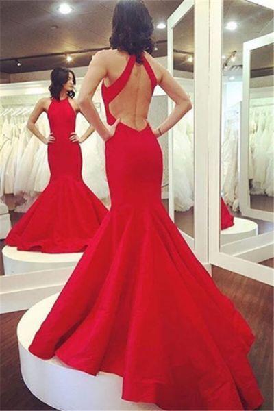 Open Back Mermaid Halter Neckline Red Prom Dress evening dresses