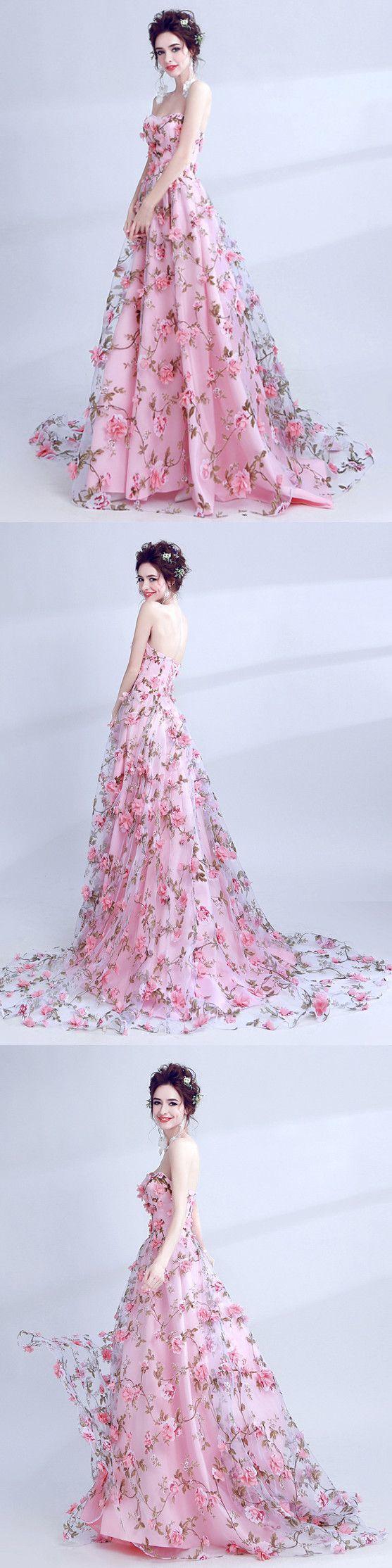 2018 A Line Prom Dress Pink Lace Flower Long By Meetbeauty On Zibbet
