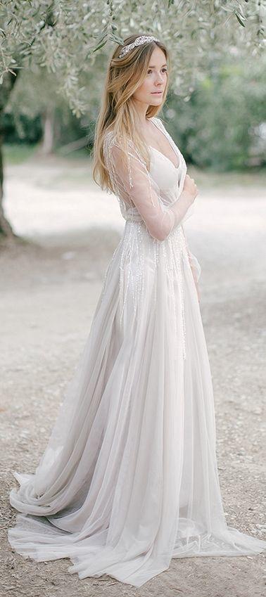 Long Sleeved Pale Grey Boho Wedding Dress with Beading Tassels