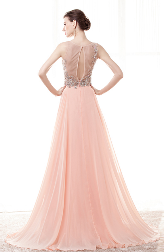 Blush Pink Prom Dresses,Beaded Prom Dress 2018,Formal Party Dress,Evening Gowns