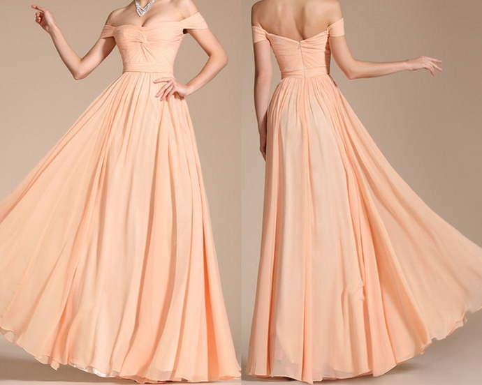 Peach Bridesmaid Dress, Chiffon Bridesmaid Dress, Wedding Party Dresses, Long