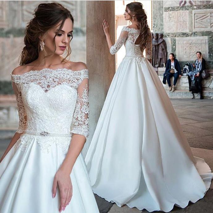 Elegant Silk Wedding Dresses With Sleeves: Half Sleeve Wedding Dress, Lace Wedding By Prom Dresses On
