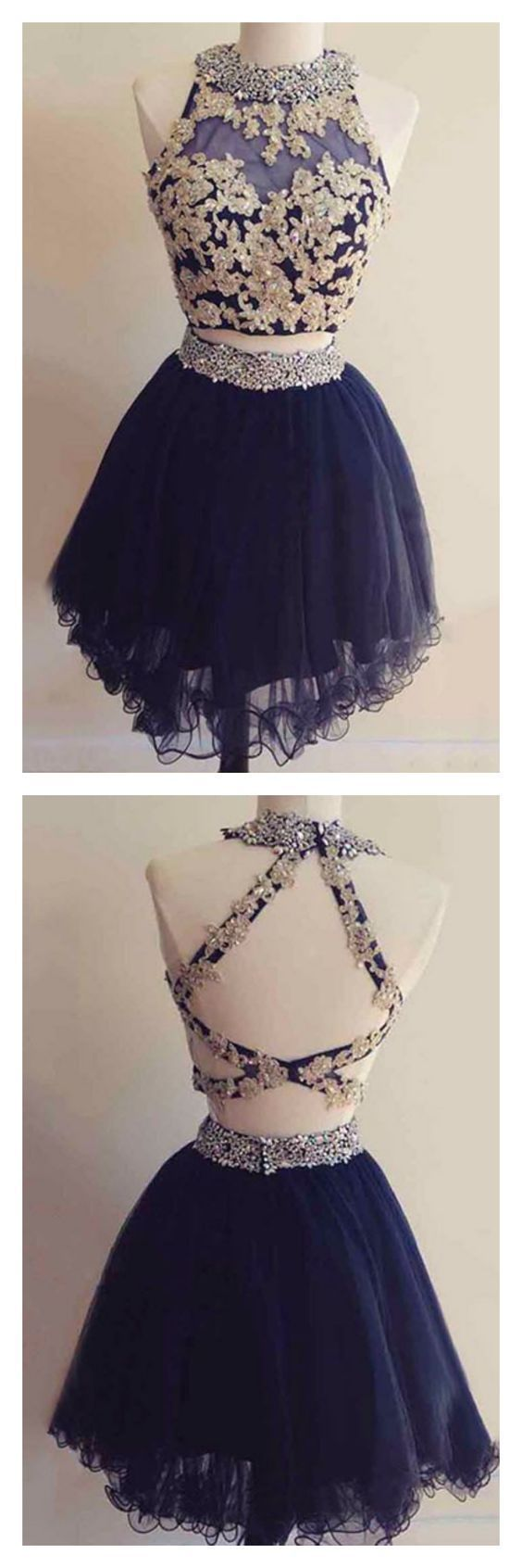 Two piece navy blue homecoming dress, round neck dresses