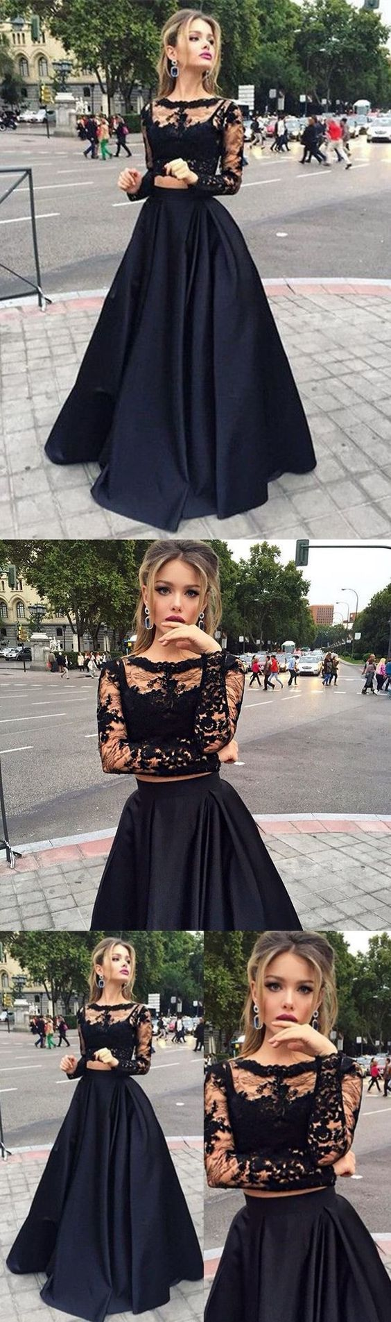 Long Sleeves Prom Dresses Black Two Pieces Lace Top And Satin Sheer Crew Neck