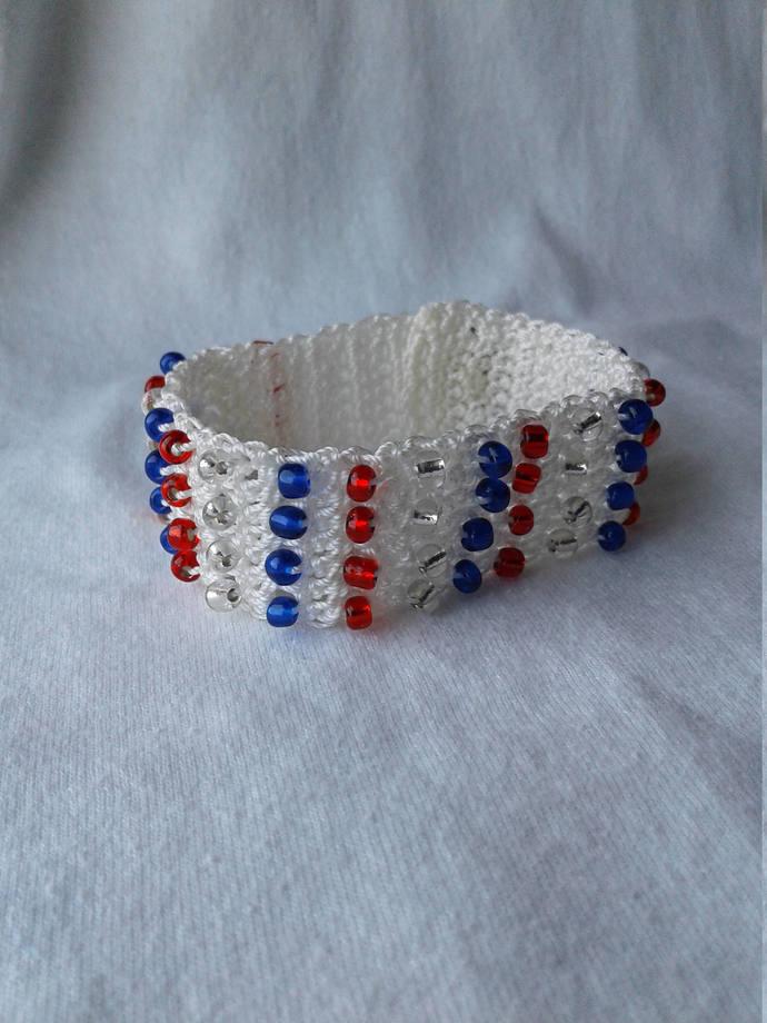 America Crochet Cuff Bracelet