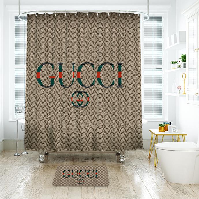 Gucci Shower Curtain Bathroom Decoration With 12 Hooks 72w X 72