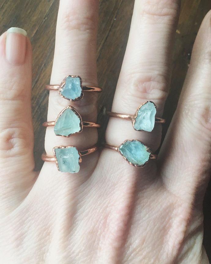 Raw Aquamarine Ring   March Birthstone   Aquamarine Jewelry   Raw Aquamarine  