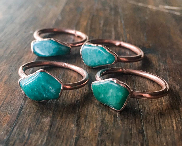 Amazonite Ring | Stone Ring | Electroformed Jewelry | Green Ring | Electroform