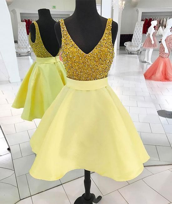 V-Neck Backless A-Line Homecoming Dresses,Short Prom Dresses,Cheap Homecoming