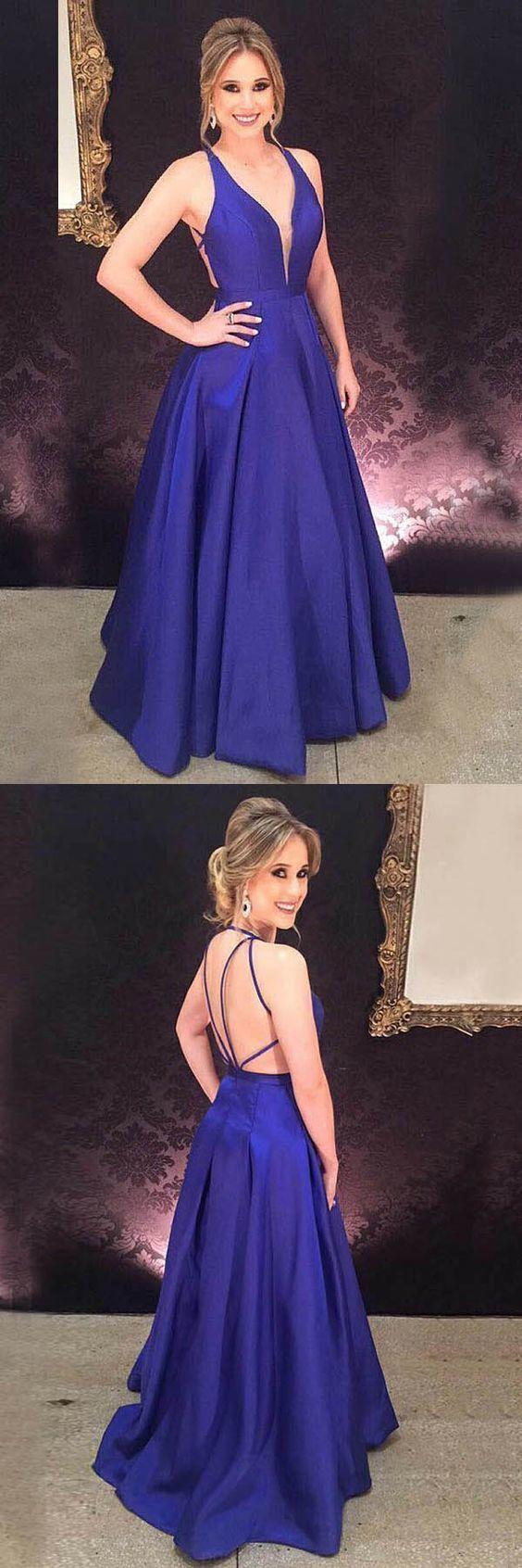A-Line Deep V-Neck Royal Blue Satin Pleats Prom Evening Dress 0838