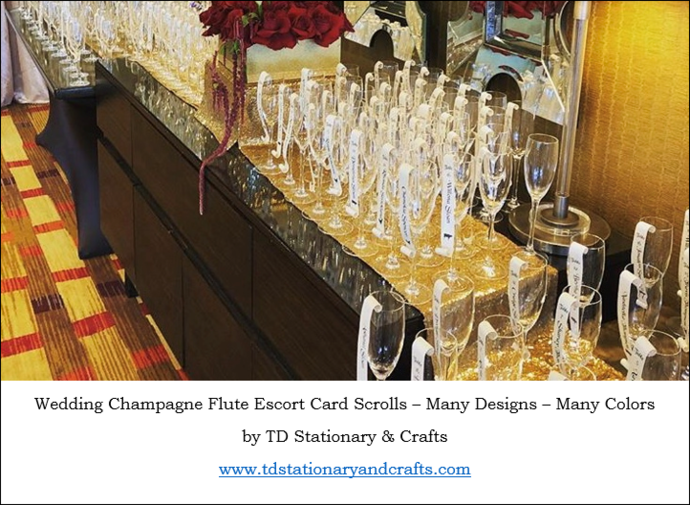 Meal Choice Champagne Flute Escort / Place Card Scroll  / Wedding/ Dinner Party